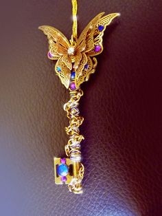 'Empyrean' Filigree butterfly key necklace