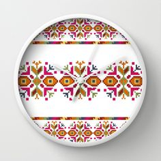 Bulgarian embroidery pattern Wall Clock by VessDSign - $30.00