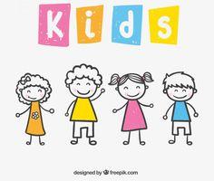 Descarga Gratis este vector con dibujos simples de niños y niñas vectorizados  Designed by Freepik