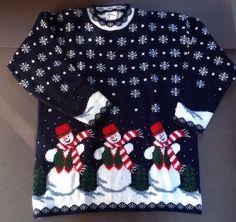 Adele Ugly Christmas Sweater Snowman Snowflakes Medium M Navy Xmas Acrylic  Tunic  Nutcracker  Tunic e533adaa9