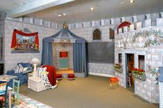 Kids Playroom with Decorative Mini Castle Interior for Girl
