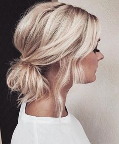 hair updos 50 Gorgeous Messy Wedding Updos, Do you always feel confused while styling your short hair Wondering how to updo short hair Well,short hairstyledoesnt necessarily mean to be . Updos For Medium Length Hair, Short Hair Updo, Wedding Hairstyles For Long Hair, Ponytail Hairstyles, Medium Hair Styles, Curly Hair Styles, Hairstyle Ideas, Fine Hair Updo, Wavy Updo