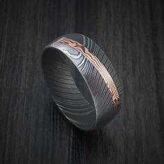 Damascus Steel Ring with Diagonal Rose Gold Mokume Inlay Custom Made