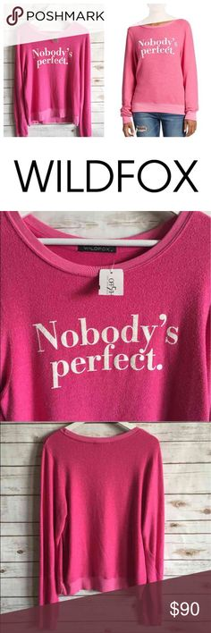 "NWT WILDFOX Pink Jumper ""Nobody's..."" WILDFOX Medium Pink Retail $98  This is a rare one. Hard to find.  Thank you for looking and please check out the rest of my closet. @boruka  P.S. I have many more jumpers on sale further down. Wildfox Sweaters Crew & Scoop Necks"