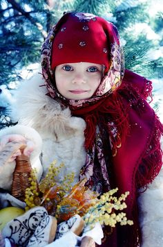 A Russian girl in the national shawl.