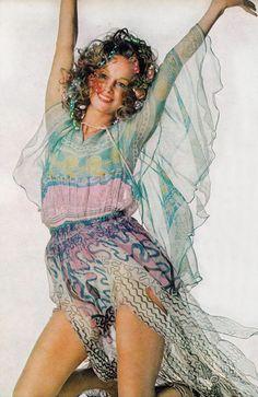 Karen Graham wearing Zandra Rhodes by Penati Vogue 1970