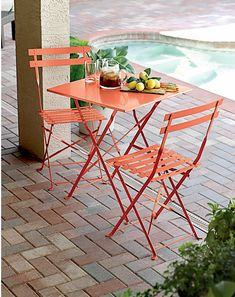 This Bistro Table ($50), available in orange or green, is foldable and easily transported from spot to spot.