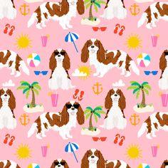 cavalier king charles spaniel beach fabric - bleheim cavalier - pink by petfriendly