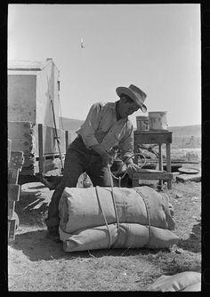 Cowboy tying up bedroll. Cattle ranch near Marfa, Texas