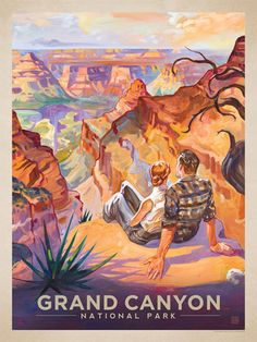 Grand Canyon National Park: A Grand Vista - Anderson Design Group has created an award-winning series of classic travel posters that celebrates the history and charm of America's greatest cities and national parks. Founder Joel Anderson directs a team of talented artists to keep the collection growing. This oil painting by Kai Carpenter celebrates the majestic beauty of GRand Canyon National Park.<br />