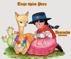 Dibujo a Lápiz: Trajes tipicos del Peru Peruvian People, Spanish Projects, Peruvian Art, Fiesta Outfit, Bible School Crafts, Llama Birthday, Llama Alpaca, Build A Blog, Sweet Pic