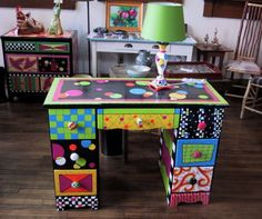 painted desk and lamp by Rebecca Waring-Crane, redemptive artist