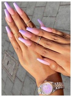 nails - Accent nails punch up your mani in easy ways 32 00077 com Coffin Nails Matte, Best Acrylic Nails, Aycrlic Nails, Nails Polish, Fingernails Painted, Purple Acrylic Nails, Pastel Nail, Bright Summer Acrylic Nails, Purple Ombre Nails