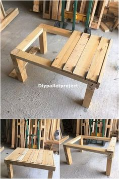 Simple and easy DIY wooden pallet projects Pallet Furniture Easy, Wooden Pallet Projects, Furniture Projects, Diy Furniture, Diy Pallet Table, Pallet Ideas, Outdoor Pallet, Simple Wood Projects, Pallet Chairs