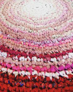 Mandala cloth rug Pink & Red  110cm Round Rug by HandmadebyJAK