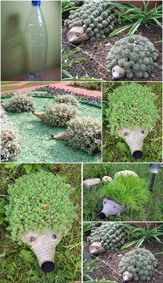 Hedgehog Planter do frasco plástico M maravilhosas Ouriços DIY frasco de plástico e seu jardim