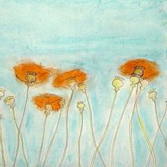 poppies; love turquoise and orange.