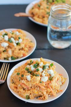 Buffalo Chicken Quinoa Salad -  back off the olive oil, not necessary!  Serve with celery sticks on the side.