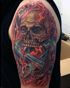 Skull And Piston Tattoos Related Keywords & Suggestions - Skull And ...