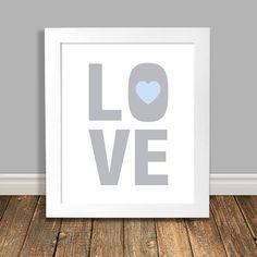 New to HappyHippoArts on Etsy: LOVE Nursery Art I Love You Art Word Art Print Blue and Grey Nursery Art Blue Nursery Art Printable Art Downloadable - 8x10 11x14 (6.50 CAD)