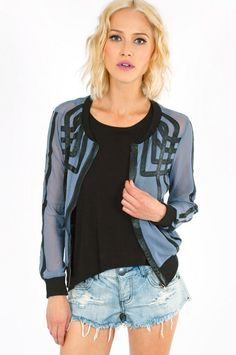 Mesh Overlapping Lines Jacket ~ TOBI