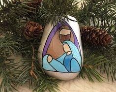 Stained Glass Style Nativity Holy Family Painted Rock