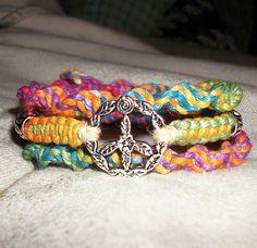 Rainbow Peace Sign Wrap Hemp Bracelet  Hemp Jewelry by psysub, $11.00