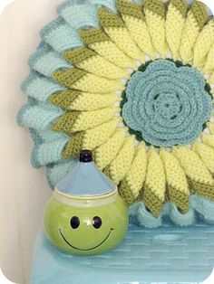 "Beautiful pillow cover and what fun...a matching ""happy face""."