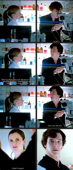 I love Molly. She's so ordinary; and yet she's not a shallow character. I love this moment because Sherlock has just been outdone by little Molly Hooper, and he just stands there, speechless. I think this is when he finally realizes that she IS his friend. And he looks guilty for not seeing her before, for not admitting to himself that she DOES count.