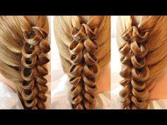 Коса с помощью резинок - 3 - YouTube