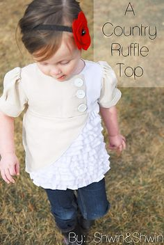 A great tutorial on making this cute little top - looks easy enough to sew, though I wonder if I could do something inspired by this (the asymmetry, the ruffles, puffed sleeves, and panel) as a knit pattern... Hmmmmm.
