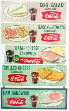 Drug Store Signs for Coca Cola. This reminds me of going with my grandma myers to work then stopping for lunch when I was about 9 ( : 1950 Diner, Vintage Diner, Retro Diner, Vintage Menu, Vintage Ads, Retro Ads, Retro Food, Vintage Signs, 1950s Ads