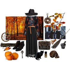 Autumn Witch by bloodmoonsuccubus on Polyvore featuring мода, CO, Jeffrey Campbell, Priestley's Vintage, Kill Star, H&M and Shea's Wildflower