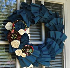 Corduroy and Rosettes // Days of Chalk and Chocolate: Wreath tutorial  This would look awesome with fall colored (browns, oranges) as the corduroy too!