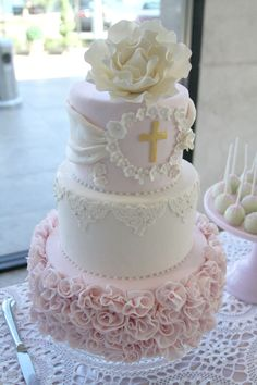 Divine Christening Cake by Sweet Bloom Cakes Pretty Cakes, Cute Cakes, Beautiful Cakes, Baby Girl Baptism, Baptism Cakes For Girls, Baby Girl Christening Cake, Baptism Ideas, Bautizo Cakes, Comunion Cakes