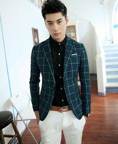High quality superb style america Black blue british style plaid fashion male slim blazer casual suit jacket single formal dress