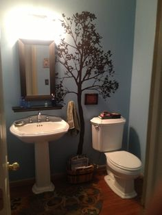 Large Wall Simple Spring Tree Decal Forest Decor Vinyl Sticker Removable Nursery 1145 feet tall) except paint the wall green Bathroom Wall Decor, Small Bathroom, Bathroom Ideas, Master Bathroom, Bathtub Decor, Design Bathroom, Bath Ideas, Bathroom Organization, White Bathroom