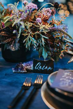 "Moody blue wedding inspiration ""Over the Moon"" centerpiece - dark purple, blue and magenta Marie's Wedding, Galaxy Wedding, Starry Night Wedding, Moon Wedding, Celestial Wedding, Space Wedding, Wedding Themes, Dream Wedding, Wedding Ideas"