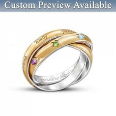 """Mothers Day Ring with names and birthstones:  Love the inscription: """"A mother holds her children's hands for a short while, but their hearts forever""""."""