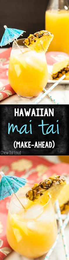 Hawaiian Mai Tai (make-ahead!) - Chew Out Loud - - Hawaiian Mai Tai (make-ahead!) – Chew Out Loud Drinks Make this delicious Hawaiian Mai Tai for your next gathering! Make it ahead of time so you can relax and enjoy. Snacks Für Party, Luau Party, Party Drinks, Cocktail Drinks, Fun Drinks, Cocktail Recipes, Alcoholic Drinks, Beverages, Mixed Drinks