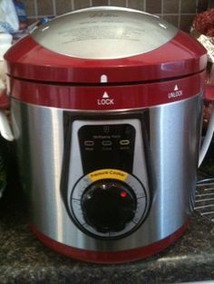 LOVE,LOVE, LOVE my pressure cooker. It is like a crock pot on crack!! Made chicken and rice tonight in 25 mins (5 min prep, 20 min cook). 3 chicken breast, italian dressing dry packet, 8 oz cream cheese and cream of chicken soup. Mixdressing, cheese and soup. Pour over chicken breast. Cook for 20 mins. 10 mins before done. Make white rice, I cooked in chicken broth. Cut up chicken and pour over rice. A recipe I found on here!