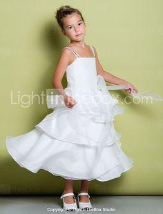 b4dc14e86c   69.99  A-Line Tea Length Flower Girl Dress - Organza   Taffeta Sleeveless  Straps with Sash   Ribbon   Ruffles   Pleats by LAN TING BRIDE®