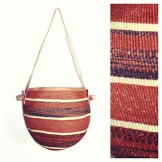 African bag, sisal bag, real leather strap.