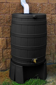 Good Ideas Black Rain Barrel With Stand