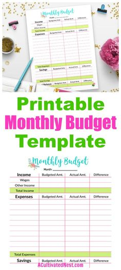 Monthly Budget Template Printable Monthly Budget Template- The easiest way to get your finances under control is by budgeting! An easy (and pretty) budget template to use is this floral printable monthly budget template! Budget Binder, Budget Planner, Budget Book, Family Planner, Microsoft Excel, Budgeting Finances, Budgeting Tips, Monthly Expenses, Budget Spreadsheet Template