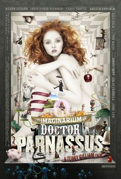 "A new UK poster for Terry Gilliam's ""The Imaginarium of Doctor Parnassus"" with Lily Cole sitting nude in the middle. The Imaginarium of Doctor Parnassus arrives in limited theaters starting on December Christmas Day Lily Cole, Christopher Plummer, Heath Ledger, Movies Showing, Movies And Tv Shows, Johny Depp, Bon Film, Paloma Faith, Fantasy Movies"