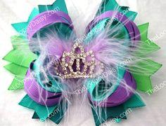 Ariel Hairbow, Little Mermaid, Disney Princess Hairbow, Princess Bow, Ariel Bow, Ariel birthday, Little Mermaid tutu, Ariel Costume, hairbow. $10.95, via Etsy.