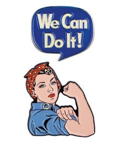 Celebrate a history of strong women with this bright enamel pin set.Includes two pinsFull graphic text (pin two): We can do HEnamel / rubberImported Whiskers On Kittens, We Can Do It, Life Images, Strong Women, Canning, Fictional Characters, Favorite Quotes, Favorite Things, Women's Rights