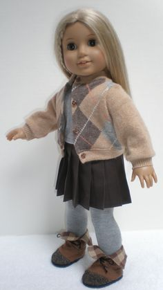 CASHMERE CARDIGAN, SHIRT & Pleated Skirt Set fits American Girl 18 inch doll