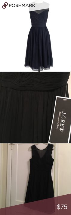 J. Crew Clara Dress in Black Gorgeous, classic Clara dress in black silk chiffon from J. Crew.  Size 12 and new with tags! J. Crew Dresses